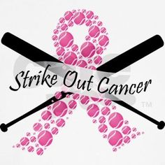 Help strike out cancer with this baseball-themed breast cancer awareness t-shirt. Spread breast cancer awareness wearing this pink ribbon made out of pink baseballs! #breastcancerawarenessshirts