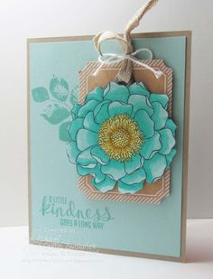 Blended Bloom tag card by Lyssa Zwolanek for Song of My Heart Stampers. All Supplies Stampin' Up. Kinda Eclectic also used. Scrapbooking, Scrapbook Cards, Wood Stamp, Copics, Card Tags, Up Girl, Cool Cards, Flower Cards, Creative Cards