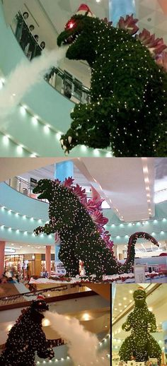Godzilla Christmas tree at Tokyo mall... I'd finally like christmas.
