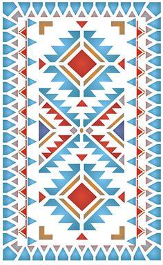 Native American Border Designs   North Plains Border Stencil stencilled with the Navajo Chevron Border ...