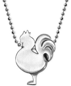 Little Rooster Zodiac Pendant Necklace in Sterling Silver