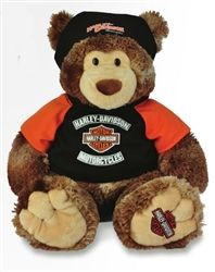 Large sized cuddly Harley-Davidson teddy bear with a Harley t-shirt, do-rag and bar and shield logo on his foot. This and other Harley gifts available at Leather Bound Online. Harley Davidson Toys, Harley Davidson Panhead, Classic Harley Davidson, Jumbo Teddy Bear, Kids Motorcycle, Harley Bikes, Cool Bike Accessories, Super Bikes, Custom Bikes
