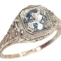 Antique Style Sterling Silver Filigree .65ct Sky Blue Topaz Ring: Jewelry: Amazon.com