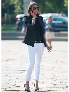 How to wear white jeans in the colder months: Look #1 Back To Black. #2 Add Print And Texture. #3 Shine In Metallic!