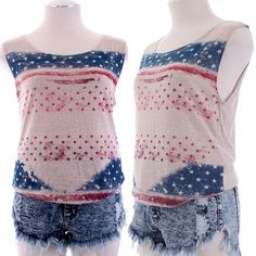 Vintage American Flag motif graphic Sleeveless Tee  $15.00 Free Domestic Shipping
