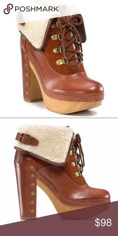 """{Lucky Brand} Sherpa """"Tanner"""" Boot Amazing, BRAND NEW....never worn Leather, Suede, and Sherpa foldover """"Tanner"""" booties. Completely sold out in stores and online. Beautiful caramel tan color and complete with gorgeous grommet detail. Genuine leather and suede upper with Sherpa foldover detail. 4 1/2"""" block heel; 1"""" platform...so comfortable and so chic! Lucky Brand; Size 6 1/2 ...marked NWT, but these actually only have the stickers--no tags. Never worn--pristine new condition. Lucky Brand…"""