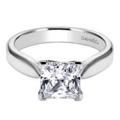 14k white gold cathedral princess cut solitaire diamond engagement ring from Mullen Jewelers