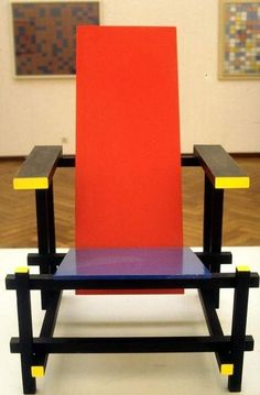 In 1917 Gerrit Rietveld designed the Red Blue Chair (inspiration Mondrian)
