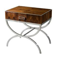 Dual Curves II, Keno bros collection for theodore alexander Modern Accent Tables, Side Table, Stainless Steel Table, Rosewood Side Table, Accent Table, Mid Century Modern Wood, End Tables With Storage, Steel Bedside Table, Living Room Accent Tables
