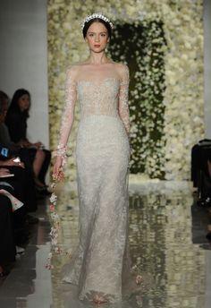 Sheer Lace Sheath Wedding Dress | Reem Acra Wedding Dresses Fall 2015 | Maria Valentino/MCV Photo | Blog.theknot.com