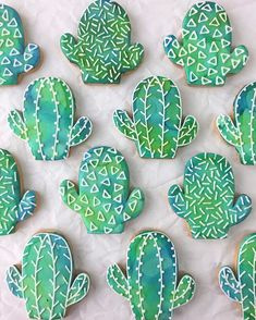 """704 Likes, 10 Comments - Tony and Heather (@kaleidacuts) on Instagram: """"Watercolor and geometric patterned chubby cactus cookies my happy!!! @bibethplybon at…"""""""