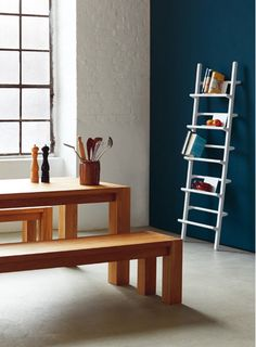 Verso shelf by Mikko Halonen, Custom table and benches by Hem Design Studio. hem.com