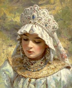 historyfan: Russian beauty in headdress by Konstantin Makovsky. I do not have a date for this painting but Makovsky's dates are OMG just so beautiful! View Original Source Here Russian Beauty, Russian Fashion, Russian Folk, Russian Art, Russian Style, Costume Russe, Marine Style, Louise Ebel, Foto Fantasy