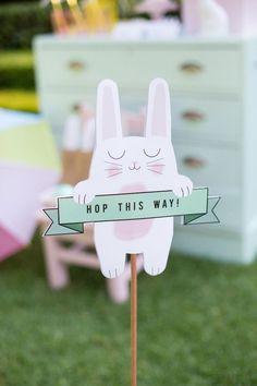 Hop This Way bunny sign from an Easter Garden Party on Kara's Party Ideas | KarasPartyIdeas.com (12)