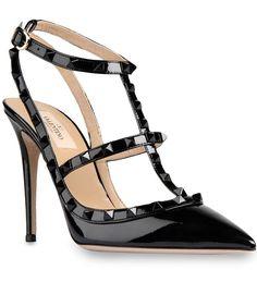 Valentino Rockstud 100mm All Black Patent Leather T-Strap Sandal Pumps