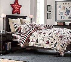 Cliab London Bedding Twin Union Jack Flag Vintage Car Big Ben Tower Bridge England 100% Cotton 5 Pieces