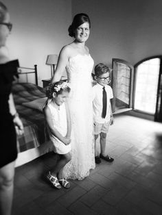 Bride with her children