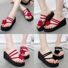 Summer Women Lady Beach High Heel Wedge Platform Flip Flops Sandal Slipper New.