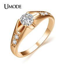 Umode anel de noivado com o topo da classe aaa cz anéis de casamento para as mulheres rosa de ouro/rhodium jóias ajr0064(China (Mainland))