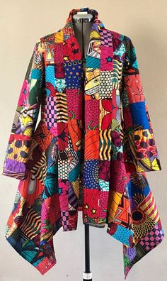 Wow Factor African Wax Print Patchwork Asymmetric Jacket Cotton Lined African Wear, African Attire, African Dress, African Print Fashion, African Fashion Dresses, Fashion Outfits, Tartan Fashion, African Design, Types Of Sleeves
