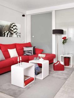 Living Room Decor With Red Sofa bold red couches! what a statement! #redcouch #statementcolor
