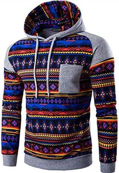 Retro Aztec Ethnic Stitching Pattern Women Cropped Hoodie for Sports Gym Office School for Sports Gym Office School
