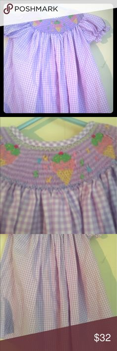 baby girl ice cream smock This is a beautiful lavender baby girl smart dress with embroidered ice cream cones around neck Dresses Casual