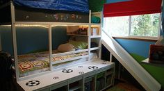 Playful Built-in Slide Kids Bed with IKEA Kura Reversible Bed and IKEA Trofast Frames
