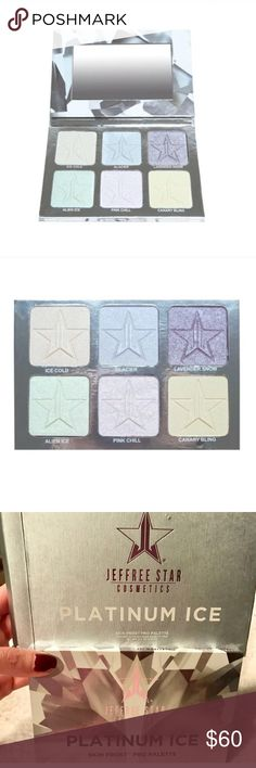 """Jeffree Star Platinum Ice skin frost palette BRAND NEW/NEVER USED/AUTHENTIC IN BOX (SOLD OUT ONLINE) Jeffree Star Platinum Ice skin frost palette.  """"Platinum Ice"""" Skin Frost™ Pro Palette! This palette features 6 cool-toned iridescent pressed highlighters, including one highlight topper shade """"Pink Chill"""". Use the shades alone or layer them together to achieve your desired glow for eyes, face and body! Jeffree Star Makeup Luminizer"""