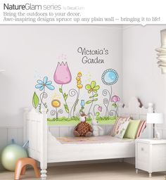 Childrens Wall Decal - Flower Garden with Name Personalization - Large Vinyl Art Sticker - For Nursery or Kids Girls Room. $125.00, via Etsy.