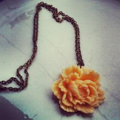 Creamy Dreamy Peony Necklace on antique bronze chain PERFECT FOR FALL. $9.00, via Etsy. bought!
