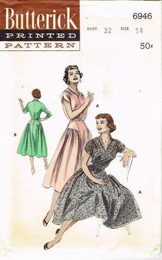 1950s Vintage Misses Cocktail Dress Uncut 1954 Butterick Sewing Pattern Size 14 | eBay