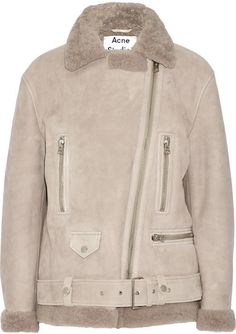 Acne Studios - More She Sue Shearling Biker Jacket - Stone