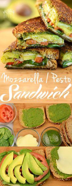 Sandwich Vegetariano de Mozzarella y Salsa Pesto