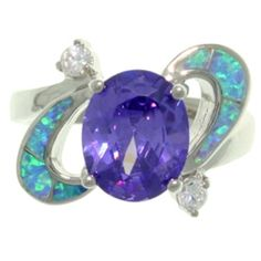 Carolina Glamour Collection High-Polish Sterling Silver Purple Cubic Zirconia and Created Blue Opal Ring - 14346422 - Overstock - Big Discounts on Carolina Glamour Collection Cubic Zirconia Rings - Mobile