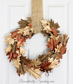 Metallic Browns and Gold Leaf Painted DIY Fall Wreath - I am crushing on metallics this fall! I just can't get enough of them. So I thought why not create a f…