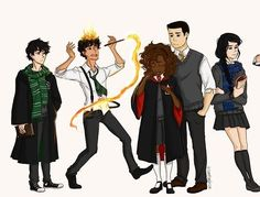 Heroes of Olympus Harry potter style. Again awesome but WHAT ARE LEO AND NICO DOING IN SLYTHERIN?!