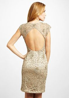 SUE WONG V-Neck Open Back Dress