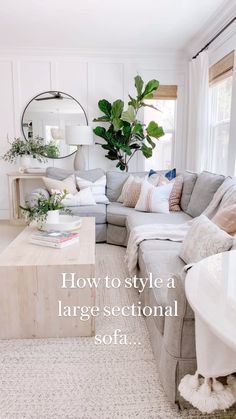 Living Room And Dining Room Design, Beach Living Room, Living Room Modern, Home Living Room, Living Room Designs, Living Room Neutral, Sectional Sofa Decor, Living Room Sectional, Family Room With Sectional