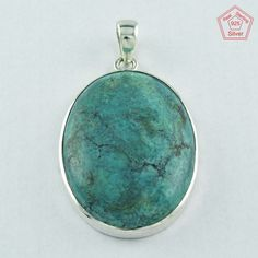 SILVEX IMAGES _ NATURAL GREEN TURQUOISE STONE 925 STERLING SILVER PENDANT PN3640 #Handmade #Pendant