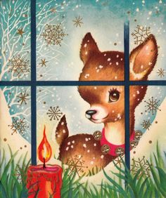 vintage Christmas fawn looking in window