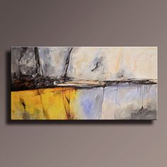 """72"""" Large ORIGINAL ABSTRACT Yellow Gray Painting on Canvas Contemporary Abstract Modern Art wall decor - Unstretched"""