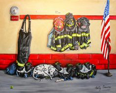 Bunkered Down Fine Art Print -- Dalmatian in Fire Station with fire bunker gear and American Flag Firefighter Pictures, Bunker, Custom Art, Mans Best Friend, Pet Portraits, American Flag, Fine Art America, Fine Art Prints, Wall Art