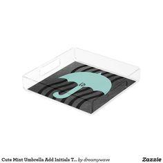 Cute Mint Umbrella Add Initials Tray