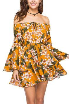 Women Dress Summer Off Shoulder Floral Print Dress Boho Short Party Beach Dresses Vestidos De Fiesta Bohemian Summer Dresses, Casual Summer Dresses, Summer Dresses For Women, Boho Dress, Summer Outfits, Stunning Dresses, Cute Dresses, Skater Dresses, Mini Dresses