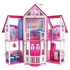 Barbie Malibu Dreamhouse I remember going to a friend's house to play because she had one. It was on my wish list as a kid but I never got one. When we got my daughter a Barbie Doll Dream House she told me that we can share it. :) She's such a sweet girl. Dreamhouse Barbie, Barbie Doll House, Mattel Barbie, Free Barbie, Barbie Villa, Barbie Malibu Dream House, Malibu Homes, A Frame House, Barbie Furniture