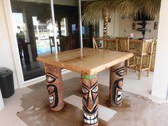 tiki carved palm tree | Tiki Table: With Four Custom Tiki Gods