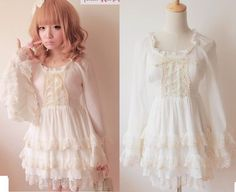 Kawaii Cute Sweet Dolly Gothic Lolita Princess Sleeve Chiffon cake Dress White #OwnBrand #Casual