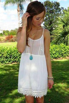 White shift dress