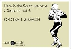 Here in the South we have 2 Seasons, not 4. FOOTBALL & BEACH. | Sports/Leagues Ecard | someecards.com